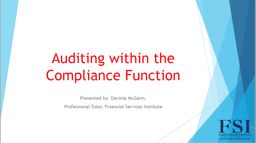 Auditing Within the Compliance Function