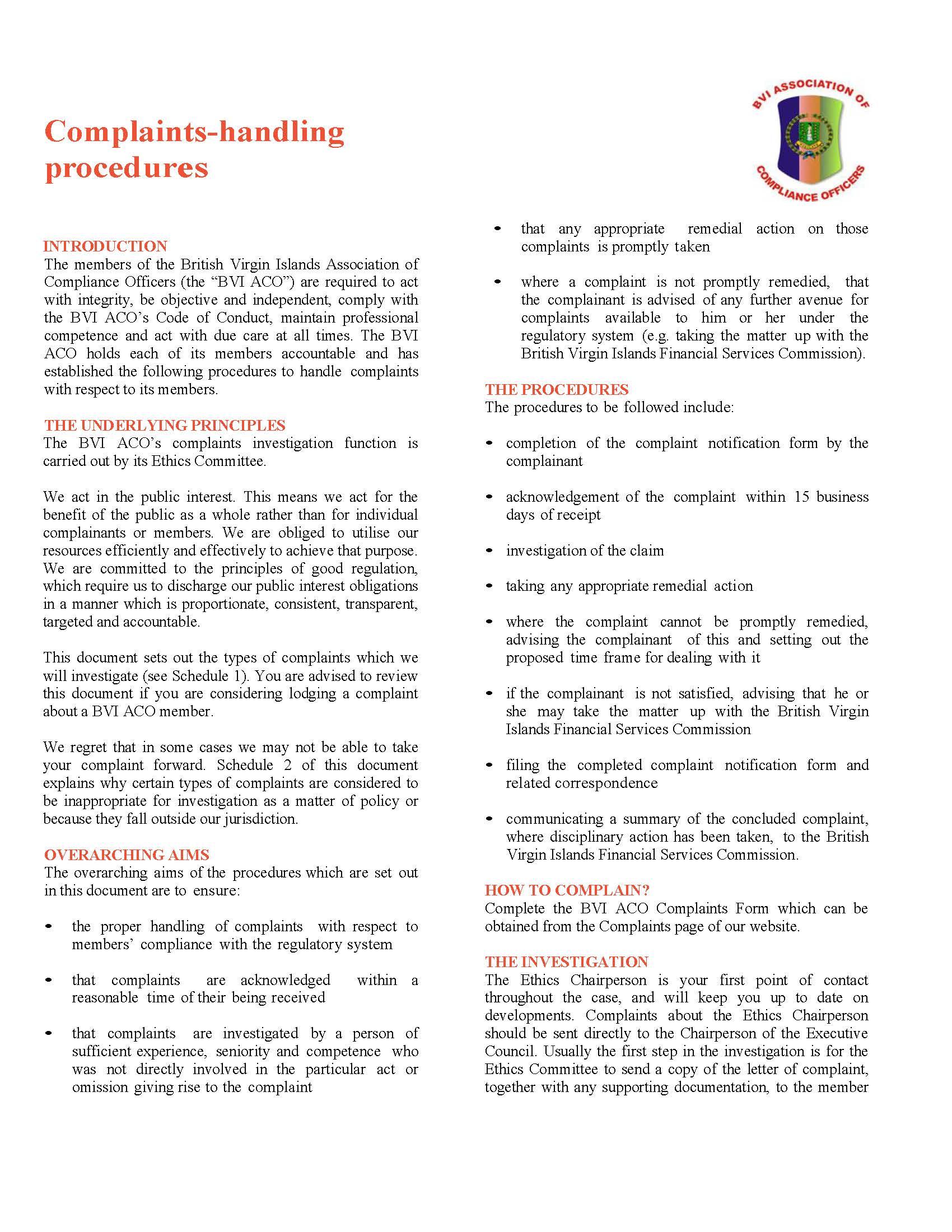 Complaints Handling Procedures